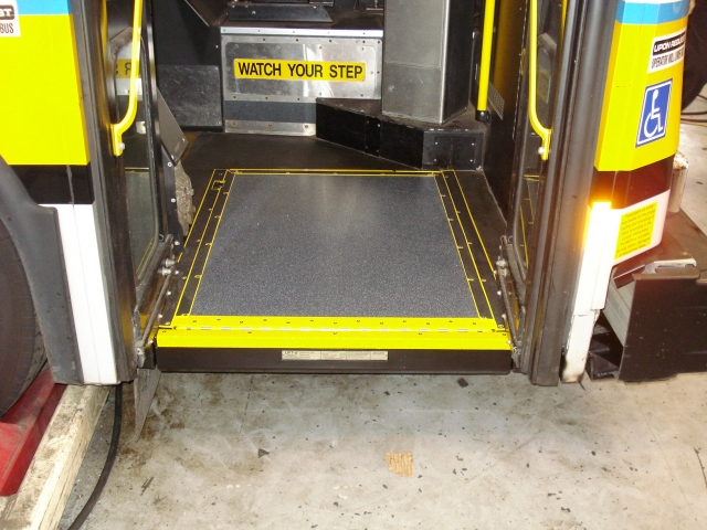 Ramp Conversion completed in front door of transit bus.