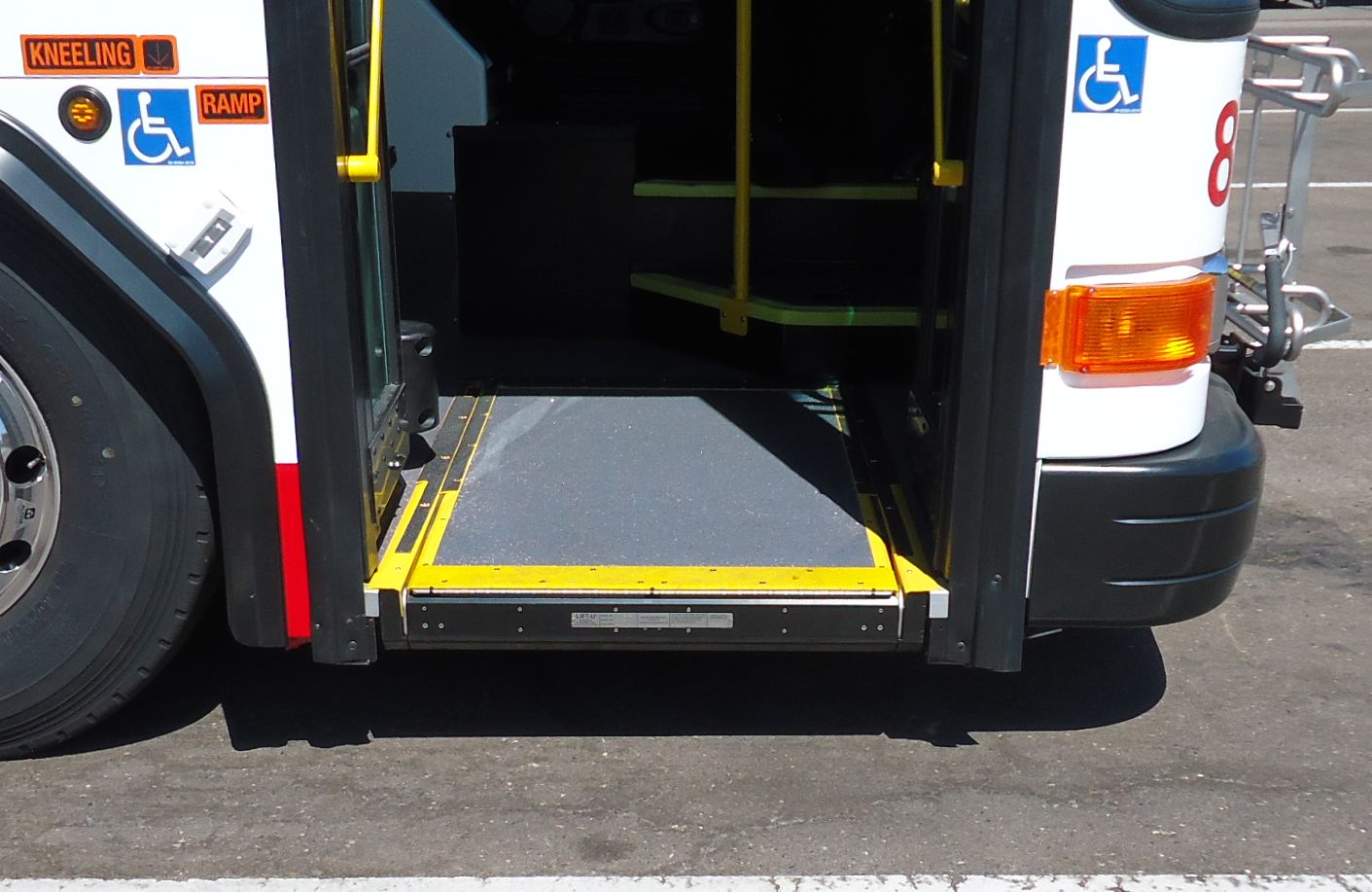 Ramp is stowed into the bus.